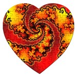 Burning Yellow Flame Fire Fractal Jigsaw Puzzle (Heart)
