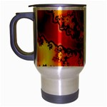 Burning Yellow Flame Fire Fractal Travel Mug (Silver Gray)