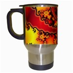 Burning Yellow Flame Fire Fractal Travel Mug (White)