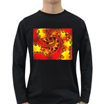 Burning Yellow Flame Fire Fractal Long Sleeve Dark T-Shirt
