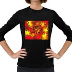 Burning Yellow Flame Fire Fractal Women s Long Sleeve Dark T-Shirt