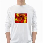 Burning Yellow Flame Fire Fractal Long Sleeve T-Shirt