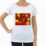 Burning Yellow Flame Fire Fractal Maternity White T-Shirt