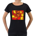 Burning Yellow Flame Fire Fractal Maternity Black T-Shirt