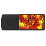 Burning Yellow Flame Fire Fractal USB Flash Drive Rectangular (4 GB)