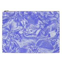 Shimmering Floral Damask,blue Cosmetic Bag (xxl)  by MoreColorsinLife