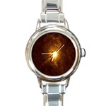Rebirth in Brown Goth Punk Fantasy Round Italian Charm Watch