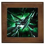 Broken Green Goth Metallic Glass Framed Tile