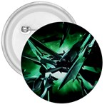 Broken Green Goth Metallic Glass 3  Button