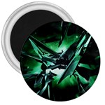 Broken Green Goth Metallic Glass 3  Magnet
