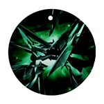 Broken Green Goth Metallic Glass Ornament (Round)