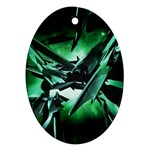 Broken Green Goth Metallic Glass Ornament (Oval)