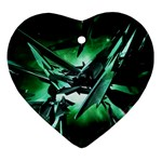 Broken Green Goth Metallic Glass Ornament (Heart)
