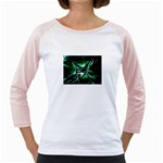 Broken Green Goth Metallic Glass Girly Raglan