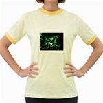 Broken Green Goth Metallic Glass Women s Fitted Ringer T-Shirt