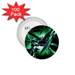 Broken Green Goth Metallic Glass 1.75  Button (100 pack)