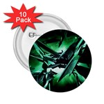 Broken Green Goth Metallic Glass 2.25  Button (10 pack)