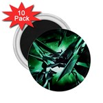 Broken Green Goth Metallic Glass 2.25  Magnet (10 pack)