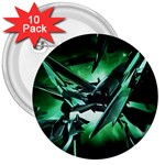 Broken Green Goth Metallic Glass 3  Button (10 pack)