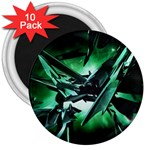 Broken Green Goth Metallic Glass 3  Magnet (10 pack)