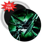 Broken Green Goth Metallic Glass 3  Magnet (100 pack)