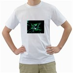 Broken Green Goth Metallic Glass White T-Shirt