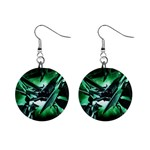 Broken Green Goth Metallic Glass 1  Button Earrings