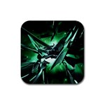 Broken Green Goth Metallic Glass Rubber Coaster (Square)