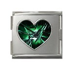 Broken Green Goth Metallic Glass Mega Link Heart Italian Charm (18mm)