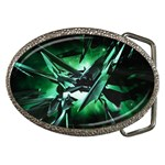 Broken Green Goth Metallic Glass Belt Buckle