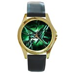Broken Green Goth Metallic Glass Round Gold Metal Watch
