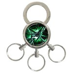 Broken Green Goth Metallic Glass 3-Ring Key Chain