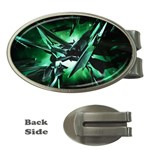 Broken Green Goth Metallic Glass Money Clip (Oval)