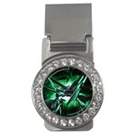 Broken Green Goth Metallic Glass Money Clip (CZ)
