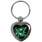 Broken Green Goth Metallic Glass Key Chain (Heart)