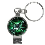 Broken Green Goth Metallic Glass Nail Clippers Key Chain