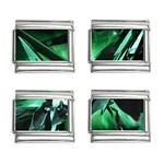 Broken Green Goth Metallic Glass 9mm Italian Charm (4 pack)