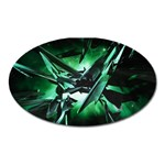 Broken Green Goth Metallic Glass Magnet (Oval)