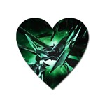 Broken Green Goth Metallic Glass Magnet (Heart)
