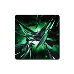 Broken Green Goth Metallic Glass Magnet (Square)