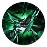 Broken Green Goth Metallic Glass Magnet 5  (Round)