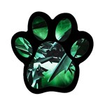 Broken Green Goth Metallic Glass Magnet (Paw Print)