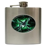 Broken Green Goth Metallic Glass Hip Flask (6 oz)