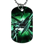 Broken Green Goth Metallic Glass Dog Tag (Two Sides)