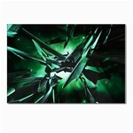Broken Green Goth Metallic Glass Postcard 4  x 6