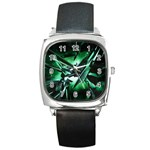 Broken Green Goth Metallic Glass Square Metal Watch