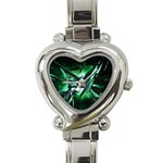 Broken Green Goth Metallic Glass Heart Italian Charm Watch