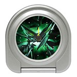 Broken Green Goth Metallic Glass Travel Alarm Clock