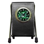 Broken Green Goth Metallic Glass Pen Holder Desk Clock