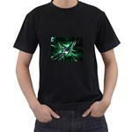 Broken Green Goth Metallic Glass Black T-Shirt